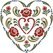 Rosemailing Heart 3 (Kit - Chart, Fabric & Threads)