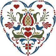 Rosemailing Heart 4 (Kit - Chart, Fabric & Threads)