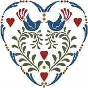 Rosemailing Heart 1 (Kit - Chart, Fabric & Threads)