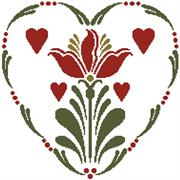 Rosemailing Heart 2 (Kit - Chart, Fabric & Threads)