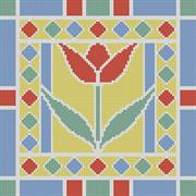 Stained Glass Square 6 (Kit - Chart, Fabric & Threads)