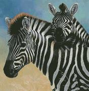 Zebra And Foal (Kit - Chart, Fabric & Threads)