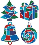 Christmas Icons 1 (Blue) (Kit - Chart, Fabric & Threads)
