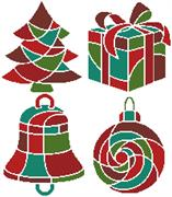 Christmas Icons 1 (Red) (Kit - Chart, Fabric & Threads)