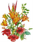 Hibiscus And Daylilies (Kit - Chart, Fabric & Threads)
