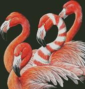 Four Flamingos (Kit - Chart, Fabric & Threads)