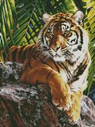 Sumatran Tiger - Crop Version (Kit - Chart, Fabric & Threads)