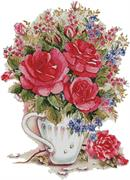 Pink Floral Arrangement (Kit - Chart, Fabric & Threads)