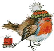 Christmas Bird (Kit - Chart, Fabric & Threads)
