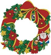Christmas Wreath 2 (Kit - Chart, Fabric & Threads)