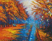 Autumn Landscape Painting (Kit - Chart, Fabric & Threads)