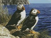 Puffin Couple (Kit - Chart, Fabric & Threads)