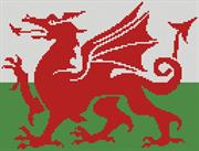 Welsh Flag (Kit - Chart, Fabric & Threads)