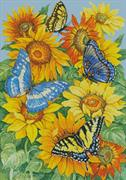 Butterflies On Sunflowers (Kit - Chart, Fabric & Threads)