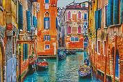 Colourful Venice Street (Kit - Chart, Fabric & Threads)