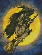 Witch On A Broom (Kit - Chart, Fabric & Threads)