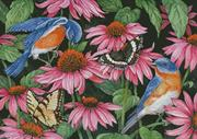 Bluebirds And Coneflowers (Kit - Chart, Fabric & Threads)
