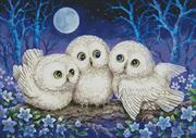 Owl Triplets (Kit - Chart, Fabric & Threads)