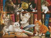 Kittens In The Library (Kit - Chart, Fabric & Threads)