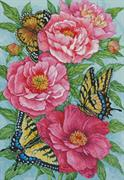 Peonies And Butterflies (Kit - Chart, Fabric & Threads)