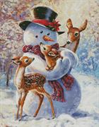 Snowman And Fawns (Kit - Chart, Fabric & Threads)