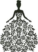 Woman Silhouette With Flowers (Kit - Chart, Fabric & Threads)
