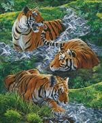Tigers In Water (Kit - Chart, Fabric & Threads)