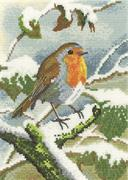 Robin In Winter (Kit - Chart, Fabric & Threads)