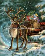 The Enchanted Christmas Reindeer (Kit - Chart, Fabric & Threads) - Lugana 25Ct.