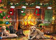 Festive Labradors (Kit - Chart, Fabric & Threads) - Lugana 25Ct.